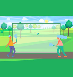 people playing badminton in summertime park vector image