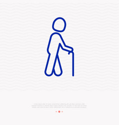 Person with stick sign elderly man thin line icon vector