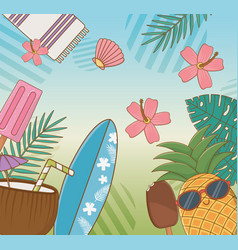pineapple character with travel vacations items vector image