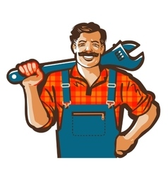 Plumber logo wrench or handyman icon vector