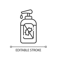 Pump bottle sanitizer linear icon vector