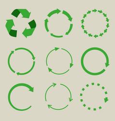 Recycled symbol arrows icon set vector