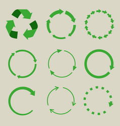 recycled symbol arrows icon set vector image