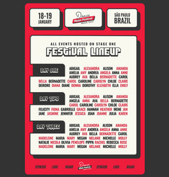 red and bold festival flyer template vector image