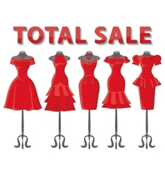 Red summer dresses on mannequinTotal Sale vector image
