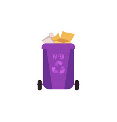 rubbish violet bin with paper waste container for vector image