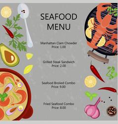 seafood menu flat design vector image