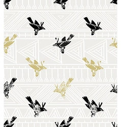Seamless pattern linocut style with birds and vector