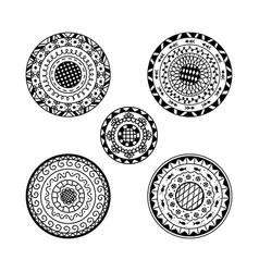 Set of five mandalas ethnic decorative mandala vector