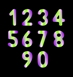 set of numbers with trend colors vector image