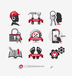 set of user interface icons vector image