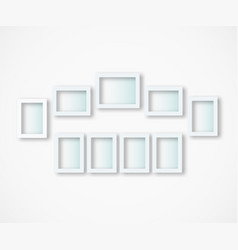 set white photo frames on gray background vector image