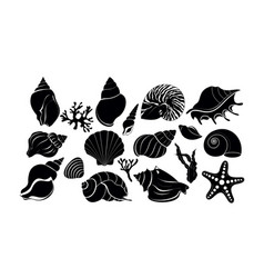 Silhouette black sea shells algae and starfish vector
