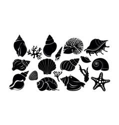 silhouette black sea shells algae and starfish vector image
