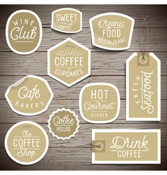 slogans stickers food coffee vector image