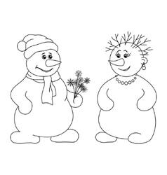 Snowballs with bouquet contours vector