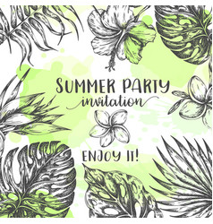 Summer party invitation tropical leaves trendy vector