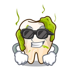 super cool cartoon unhealthy decayed teeth in vector image