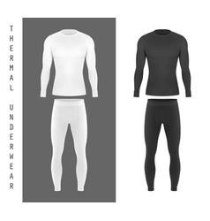 Thermal underwear top shirt and pants mockup vector
