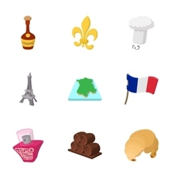 Tourism in France icons set cartoon style vector image vector image