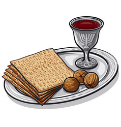 traditional jewish matzoh vector image