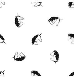 Unicorn pattern seamless black vector