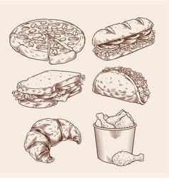 vintage fast food hand drawing set vector image