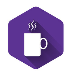 white coffee cup flat icon isolated with long vector image