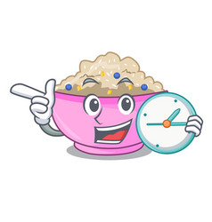 With clock traditional porridge rice in bowl vector