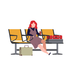 woman in airport arrival waiting room or vector image
