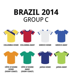 World Cup Brazil 2014 - group C teams football vector