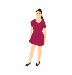 young woman in dress and shoes on a white vector image