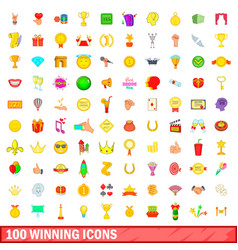 100 winning icons set cartoon style vector image