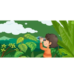 Boy in a forest vector image