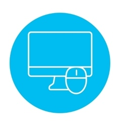 Computer monitor and mouse line icon vector image vector image