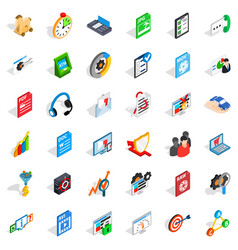 Data protection icons set isometric style vector