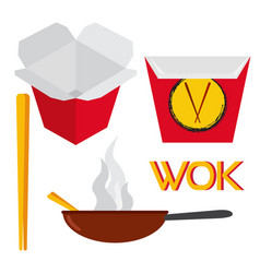 set of asian and chinese food vector image