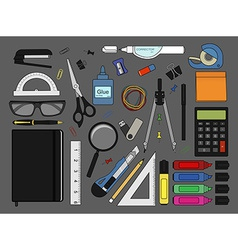 Stationery tools icons set Color vector image
