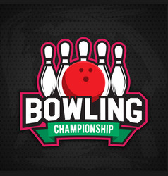 ultimate bowling chanpionship logo design vector image