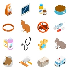 Veterinary icons set isometric 3d style vector image vector image