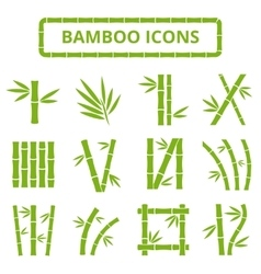 Bamboo stalks and leaves icons Asian bambu vector image vector image