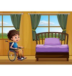 Boy and bedroom vector image vector image