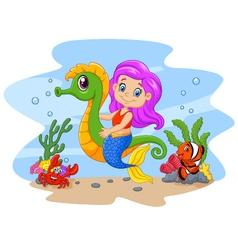 Cartoon cute mermaid riding seahorse accompanied vector image vector image