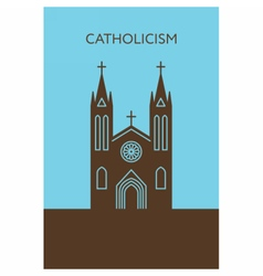 Catholic cathedral icon Christianity building vector image vector image