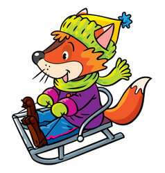 Funny fox rides on sleigh or sled vector