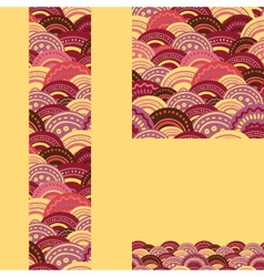 Set of waves seamless pattern and borders vector image