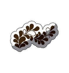 brown leaves decoration icon vector image