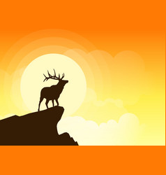 deer silhouette on a cliff at sunset vector image vector image