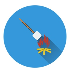 Icon of camping fire with roasting marshmallow vector image vector image