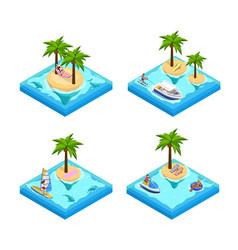 island vacation isometric set vector image